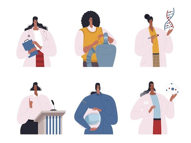 Set di professionisti afroamericani. scienziati, ingegneri, medici, programmatori, politici e piloti sono afroamericani. appartamento per il mese della storia dei neri.