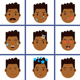 Impostare l'icona di personaggio emoji testa ragazzo africano con emozioni facciali, personaggio avatar, viso con diverso concetto di emozioni maschili