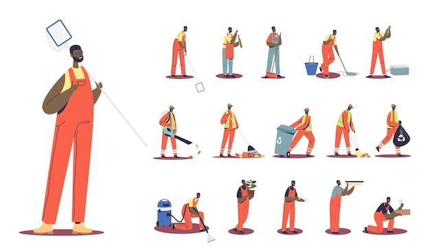 Set di bidello africano cartone animato uomo in uniforme pulizia strada diverse situazioni di stile di vita e pose: spazzare leaver, raccogliere immondizia dal cestino, utilizzare l'aspirapolvere. illustrazione vettoriale piatta