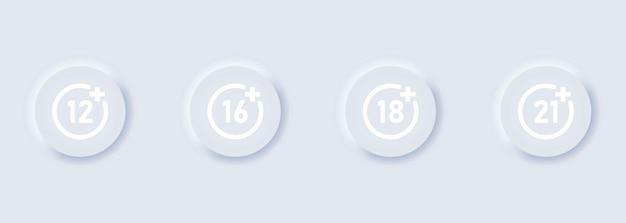 Set di icone di restrizione di età per il concetto di limite di età