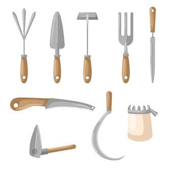 Impostare agricolo su sfondo bianco. scoop, forca, sega, falce, zappa, rastrello stile piatto
