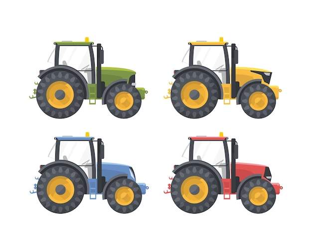 Set di macchine agricole isolate su bianco