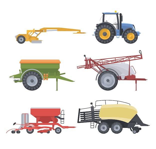 Set di macchine agricole con attrezzature