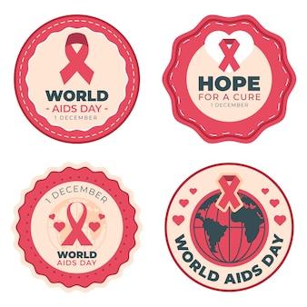 Set di etichette del giorno dell'aids