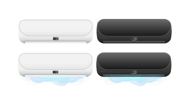 Set di condizionatori d'aria 3d. condizionatore d'aria realistico di vettore.