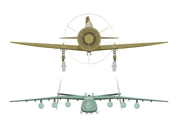 Set di aereo su bianco nella vista frontale