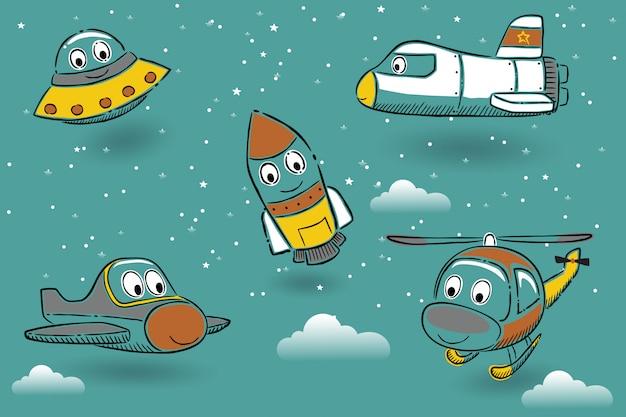 Set di cartone animato di trasporto aereo Vettore Premium