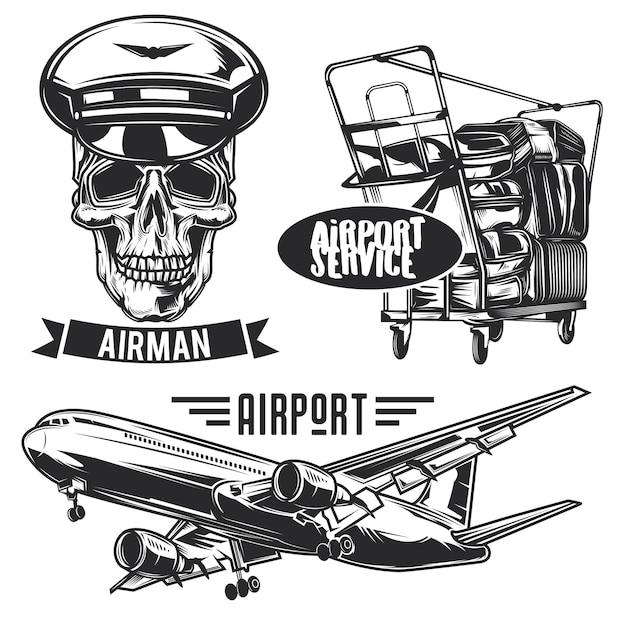 Set di emblemi, etichette, distintivi, loghi di viaggio aereo. isolato su bianco