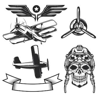 Set di elementi di aeromobili per creare badge, loghi, etichette, poster, ecc.