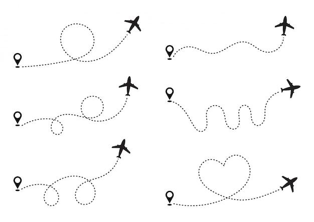 Insieme del percorso di linee tratteggiate dell'aeroplano con punto di partenza e traccia di linea tratteggiata. in tutto il mondo concetto di viaggio. isolato su sfondo bianco