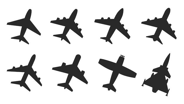Impostare l'icona piana dell'aeroplano. illustrazione vettoriale