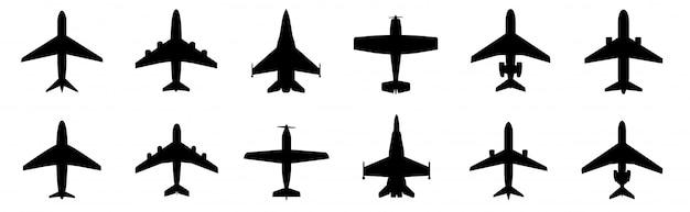 Impostare l'icona dell'aeroplano. stile piano di velivoli