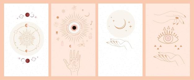 Set di talismano celeste magico mistico esoterico alchimia con mani di donna, sole, luna, stelle geometria sacra isolata