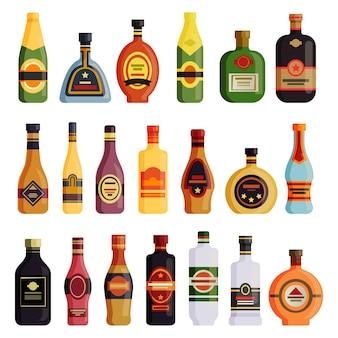Set di bottiglie di bevande alcoliche isolato su bianco