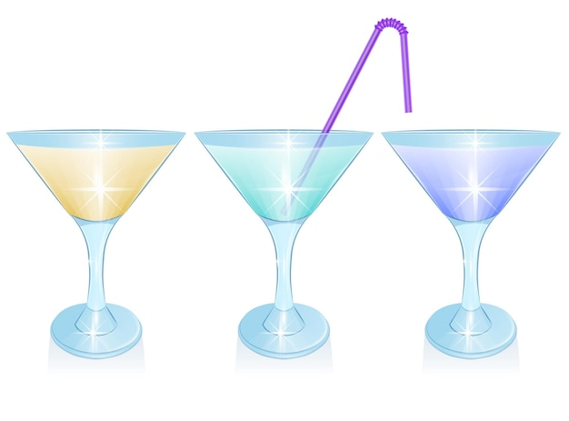 Set di cocktail alcolici isolati