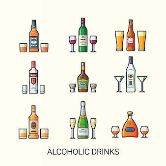 Set di bevande alcoliche isolato su bianco
