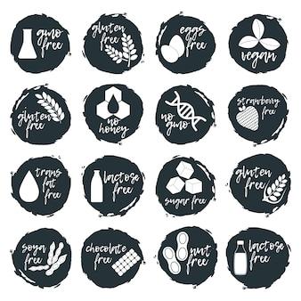 Set di alimenti allergenici, icona e logo di prodotti senza ogm. intolleranza e allergie alimentari. illustrazione nera e semplice di concetto ed arte isolata
