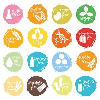 Set di alimenti allergenici, icona e logo di prodotti senza ogm. intolleranza e allergie alimentari.