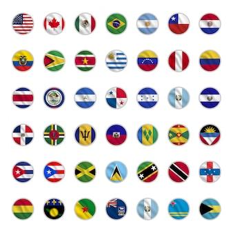Set di bandiere di paesi americani con forme di cerchio agitando stile