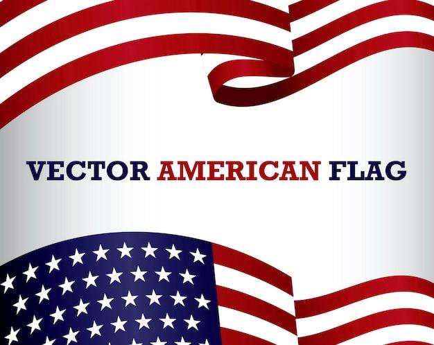 Set di bandiera americana clip art isolato eps vector Vettore Premium