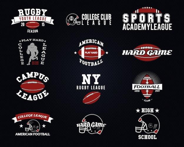 Set di football americano, etichette universitarie, loghi, distintivi, insegne, icone in stile vintage. disegno grafico