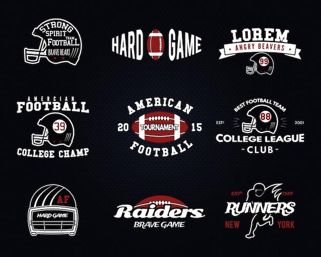 Set di football americano, etichette di college league, loghi, distintivi, insegne, icone in stile vintage. disegno grafico