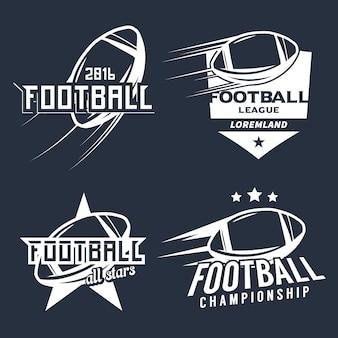Insieme di elementi di design monocromatico di campionato / campionato / torneo / club di football americano.