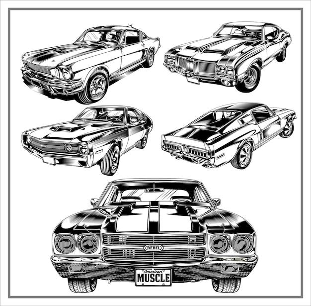Impostare la grafica dell'illustrazione delle muscle car americane