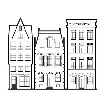 Insieme delle vecchie facciate delle case di amsterdam. architettura tradizionale dei paesi bassi. illustrazioni isolate piatte in bianco e nero in stile linea in stile olandese. per colorare