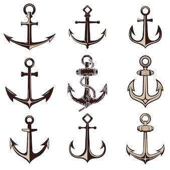 Set di ancore. elemento per, etichetta, emblema, segno. illustrazione.