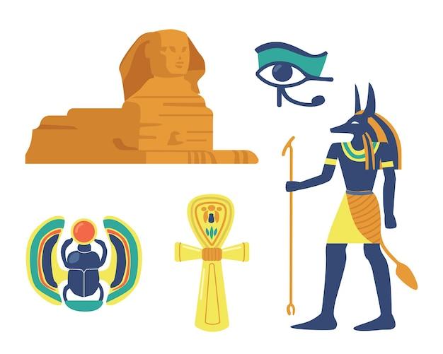 Insieme di simboli religiosi e punti di riferimento della civiltà dell'antico egitto. sfinge, scarabeo e occhio della provvidenza, dio anubi egiziano e ankh sacro isolato su sfondo bianco. fumetto illustrazione vettoriale