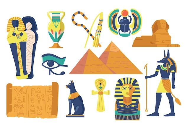 Insieme di simboli e punti di riferimento religiosi dell'antico egitto. sfinge, scarabeo e mummia, occhio della provvidenza, piramidi egizie e maschera faraone con dio anubi, brocca e gatto nero. fumetto illustrazione vettoriale