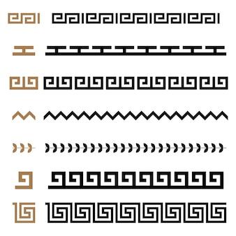 Insieme del reticolo di cornici dei bordi del costruttore dell'ornamento senza giunte del greco antico. collezione di ornamenti tradizionali vintage senza soluzione di continuità. dalla grecia
