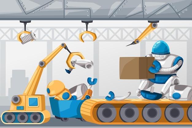 Set di macchina futuristica in stile cartone animato robot personaggio android per uso industriale. isolato futuristico oggetti cibernetici tecnologia illustrazione isolata.