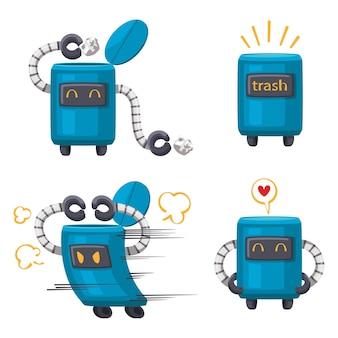 Set di robot personaggio android che pulisce la macchina futuristica in stile cartone animato per uso domestico. isolato futuristico oggetti cibernetici tecnologia illustrazione isolata.