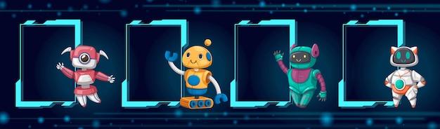 Set di macchina futuristica in stile cartone animato giocattolo robot personaggio android per uso domestico