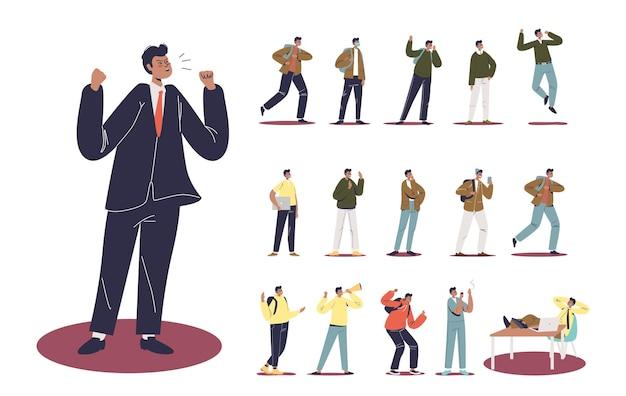 Set di cartone animato arrabbiato uomo d'affari in tuta che urla in diverse situazioni di stile di vita e pose