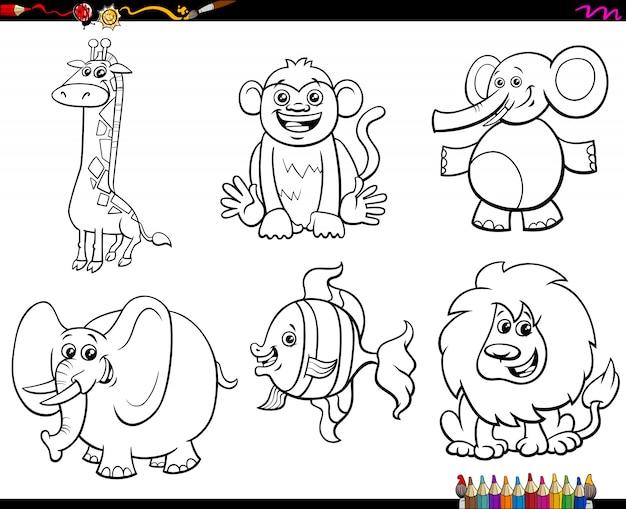 Set di caratteri animali libro da colorare Vettore Premium