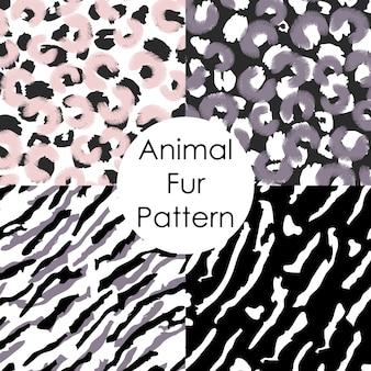 Set di modello di pelliccia animale. sfondi di pelle astratta leopardata, tigre, irbis