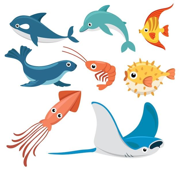 Set di gruppo di animali di creature marine, pesci, balene, delfini, pesci angelo, foche, gamberetti, pesci palla, calamari, pastinaca su bianco