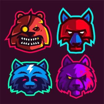 Imposta la mascotte della testa di animale per il logo di e-sport