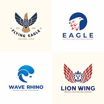 Set di logo animali. collezione di logo di aquila, rinoceronte, leone. Vettore Premium