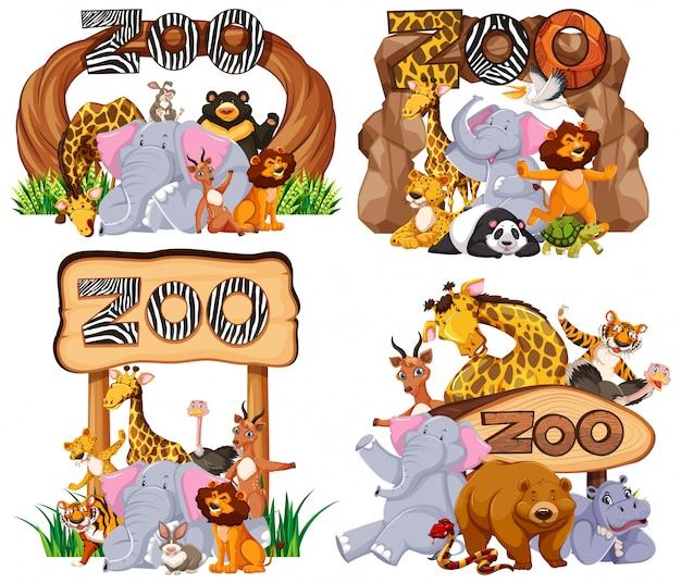 Insieme di animali al cartello di ingresso