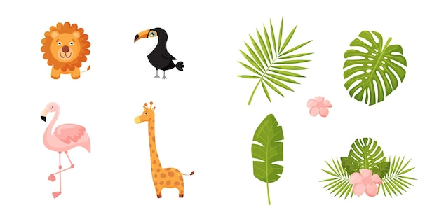 Set di animali leone giraffa tucano fenicottero e foglia di palma e piante esotiche