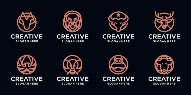 Set bundle logo monoline animali
