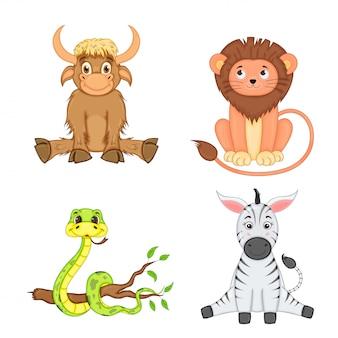 Set di animali nel vettore isolato su sfondo bianco