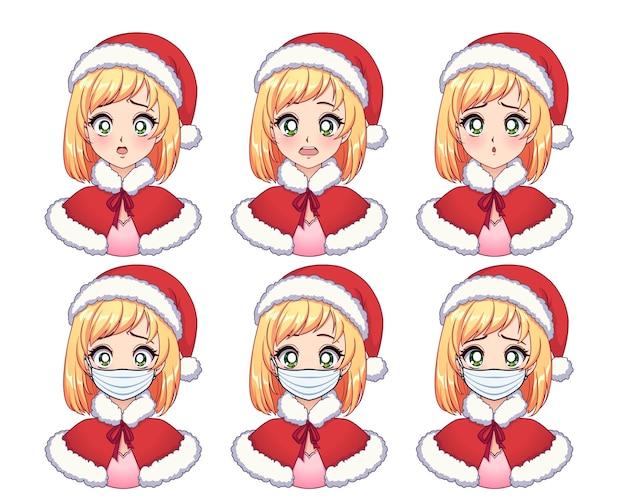 Set di espressioni anime. blondie sveglio del fumetto che porta il costume di natale e la mascherina medica Vettore Premium