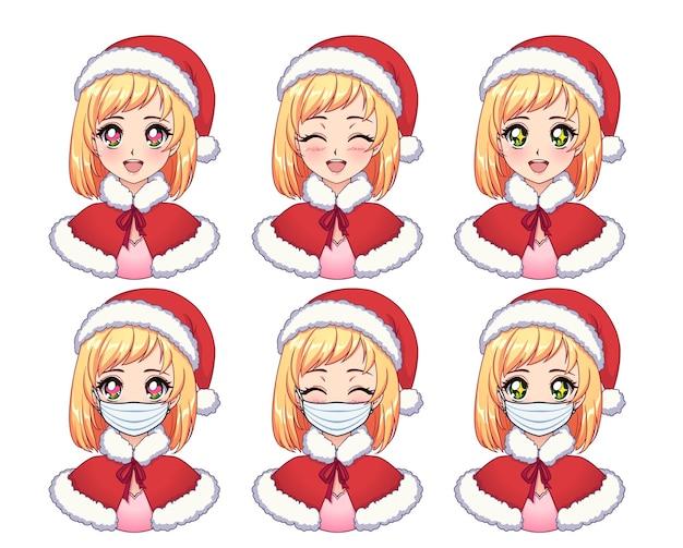 Set di espressioni anime. blondie sveglio del fumetto che porta il costume di natale e la mascherina medica