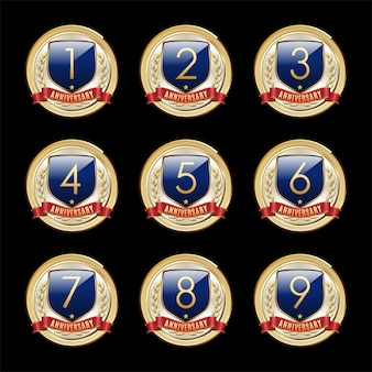 Set di badge anniversario blue shield