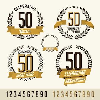 Set di elementi in oro anniversario.